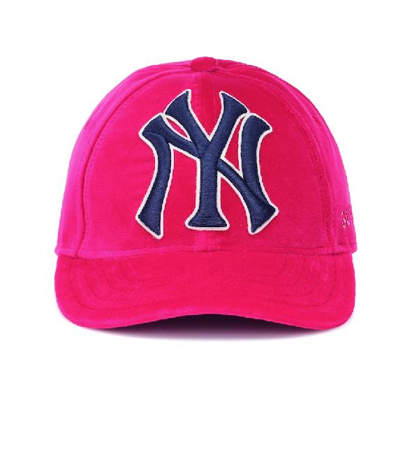 289137083650b Gucci New York Yankees Mlb Patch Velvet Baseball Hat In Pink
