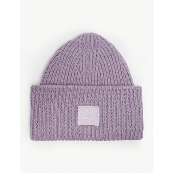3319a4c442f Acne Studios Pansy Face Knitted Wool Beanie In Mau Purple