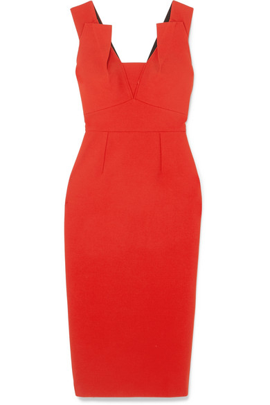 ee29715ab4 Roland Mouret Coleby Pleated V-Neck Fitted Sheath Dress