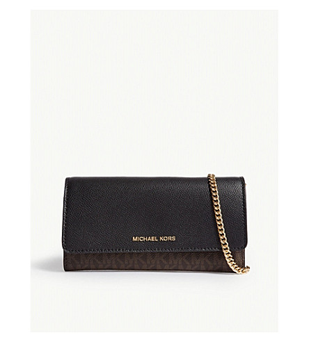Michael Michael Kors Leather Convertible Wallet In Blk/Brown