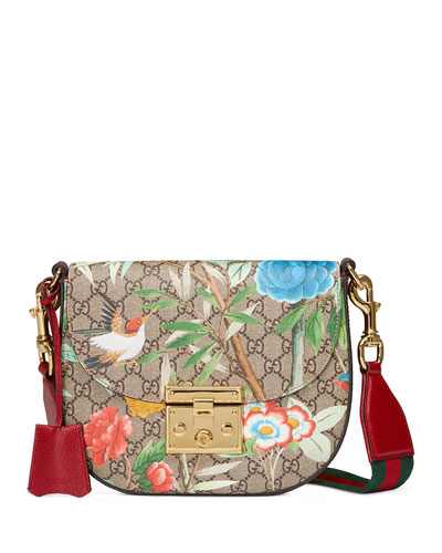 e8f6cb8d0 Gucci Padlock Medium Coated-Canvas And Textured-Leather Shoulder Bag In  Brown Patterned
