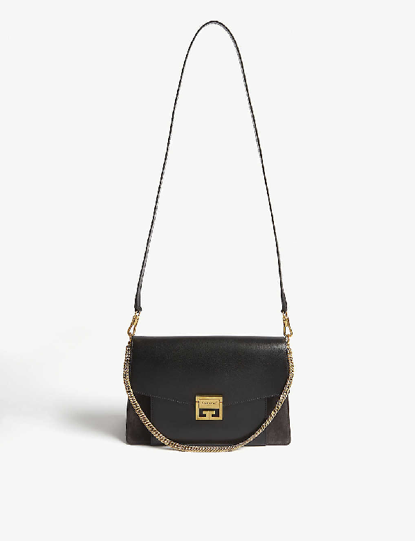 Givenchy Gv3 Small Leather And Suede Shoulder Bag In Black/gold