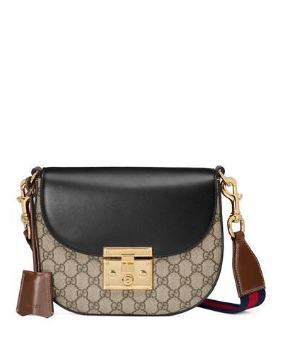 c8020fc4f300 Gucci Padlock Saddle Medium Leather-Trimmed Coated-Canvas Shoulder Bag In  8982 Tan