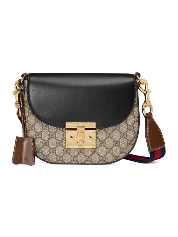 Gucci Padlock Saddle Medium Leather-Trimmed Coated-Canvas Shoulder Bag In Neutrals