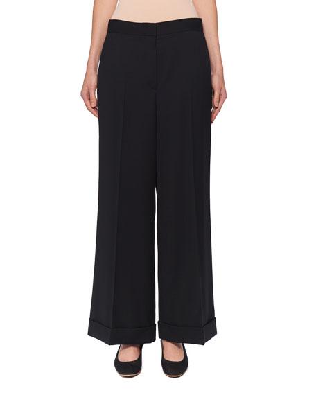 The Row Ane Wide-Leg Wool Pants In Black