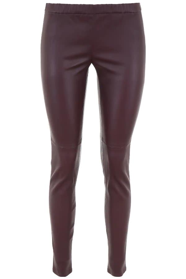 Michael Michael Kors Leather Leggings In Purple