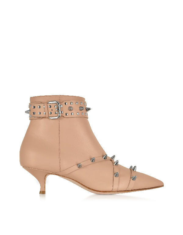 Red Valentino Nude Leather Mid-Heel Ankle Boots In Neutrals