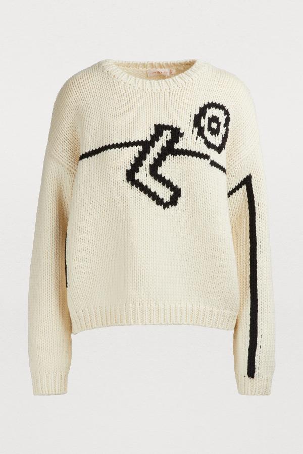 Tory Burch Merino-Wool Intarsia Sweater In Off-White