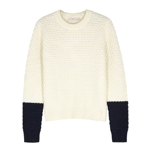 b5daa4807c588 A honeycomb knit of thick merino wool yarns brings lusciously cozy texture  and warmth to a boxy crewneck pullover. Style Name  Tory Burch Honeycomb  Knit ...