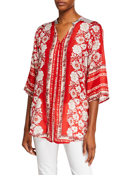 8edf110c114 Johnny Was Zoi Button-Down Printed Silk Blouse In Red | ModeSens