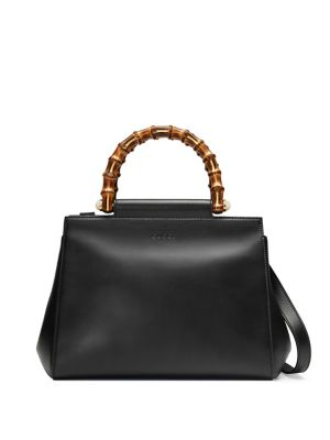 50b3db39542 Gucci Nymphea Small Bamboo-Handle Tote Bag In Black
