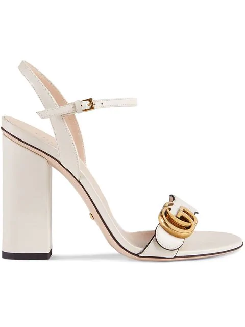 53a256d94 Gucci Marmont Logo-Embellished Leather Sandals In 9022 Ivory | ModeSens