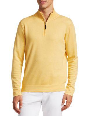 Saks Fifth Avenue Men's Collection Silk-blend Quarter-zip Sweater In Yellow