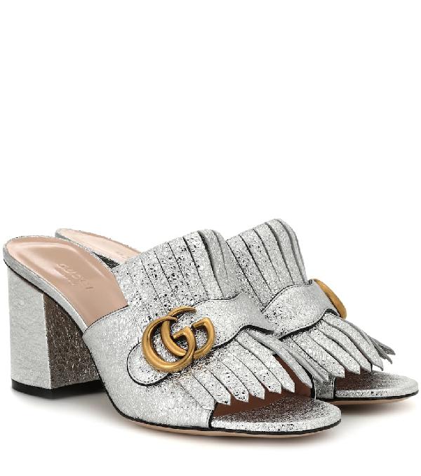1e10fce3a Gucci Silver Metallic Leather Marmont Mule Sandal (Size 38, Never Worn)