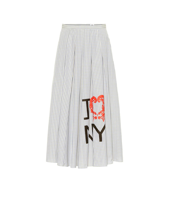 Rosie Assoulin Pleated A Line Striped Skirt In Blue