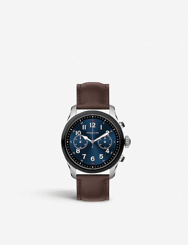 Montblanc 119439 Summit 2 Stainless Steel And Leather Smartwatch In Bicolor Steel/leather