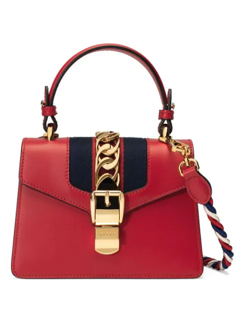 cc2bd2f0a Gucci Sylvie Mini Chain-Trimmed Leather And Canvas Shoulder Bag In 8457  Rosso