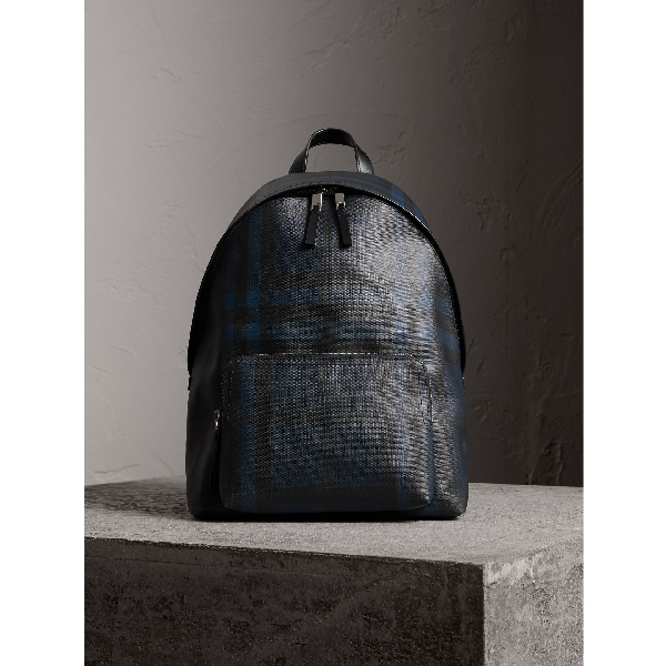 2c35ac92505c Burberry Leather Trim London Check Backpack In Navy Black