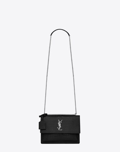 Saint Laurent Medium Sunset Satchel In Navy Blue And Black Grained Leather