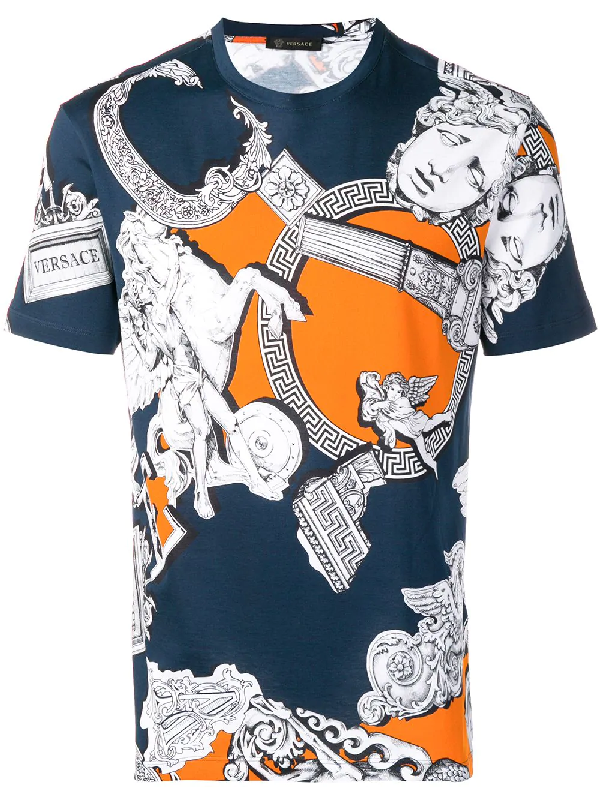 a997d7af Versace Sustainable Pegasus Print Slim Fit T-Shirt In Blue | ModeSens