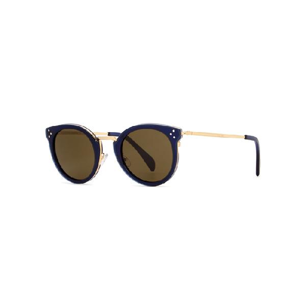 30db61430c Celine Dark Blue Round-Frame Sunglasses