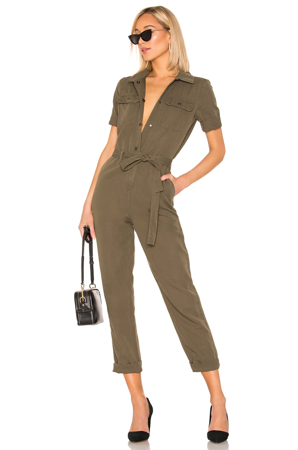 Frame Short Sleeve Belted Jumpsuit In Army Green