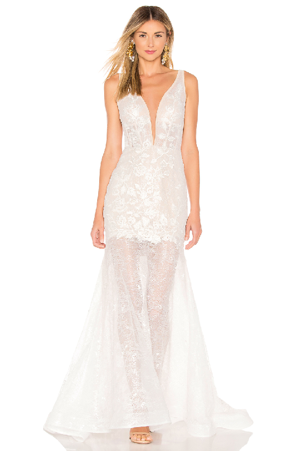 Bronx And Banco Estelle Plunging Lace Gown In White