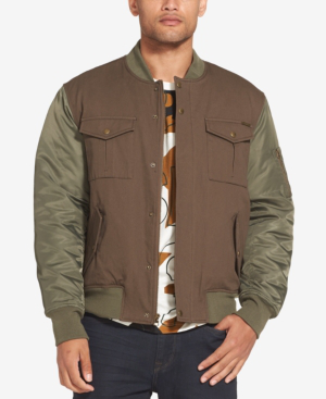 8a505a840 Men's Mixed Media Bomber Jacket in Olive