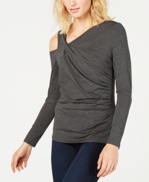 Vince Camuto Ruched Cold-Shoulder Top, Created For Macy's In Medium Heather Grey