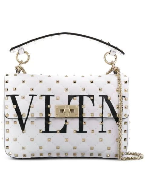 d2693a0d6 Valentino Medium Leather Rockstud Spike Chain Bag In 0Vp - Noir/Blanc.  Farfetch