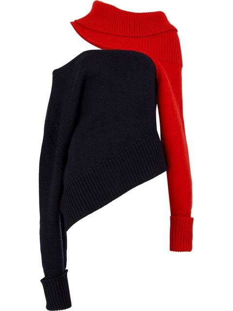 Monse Two-tone Cut-out Wool Jumper In Navy/red