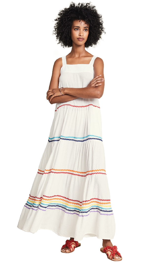907c8f9394d72 9Seed Sayulita Tier Maxi Dress In Cherry Red/Blue | ModeSens