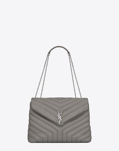 0a167fbb17d Saint Laurent Medium Loulou Chain Bag In Pearl Grey