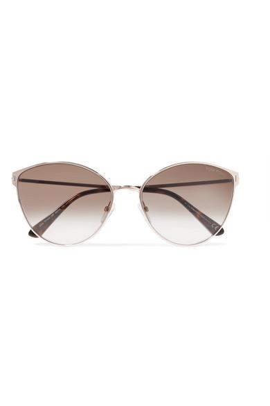6bcdc8a5d Tom Ford Zeila Cat-Eye Rose Gold-Tone And Tortoiseshell Acetate Sunglasses  In Beige