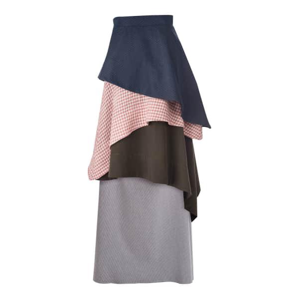 Daneh Waterfall Skirt Gingham Pink & Blue In Multicolour