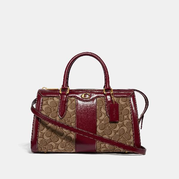 7bff08f00 Coach Bond Bag In Signature Jacquard In Tan/Scarlet/Brass   ModeSens