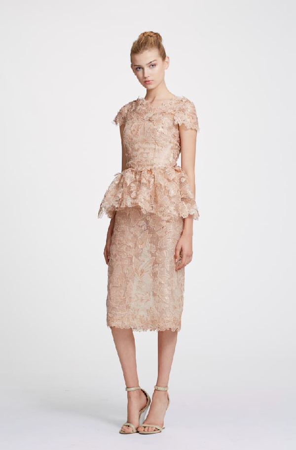 6b497ad12 Marchesa Spring 2019 Couture Foil Printed Lace Top & Lace Pencil Skirt In  Rose Gold
