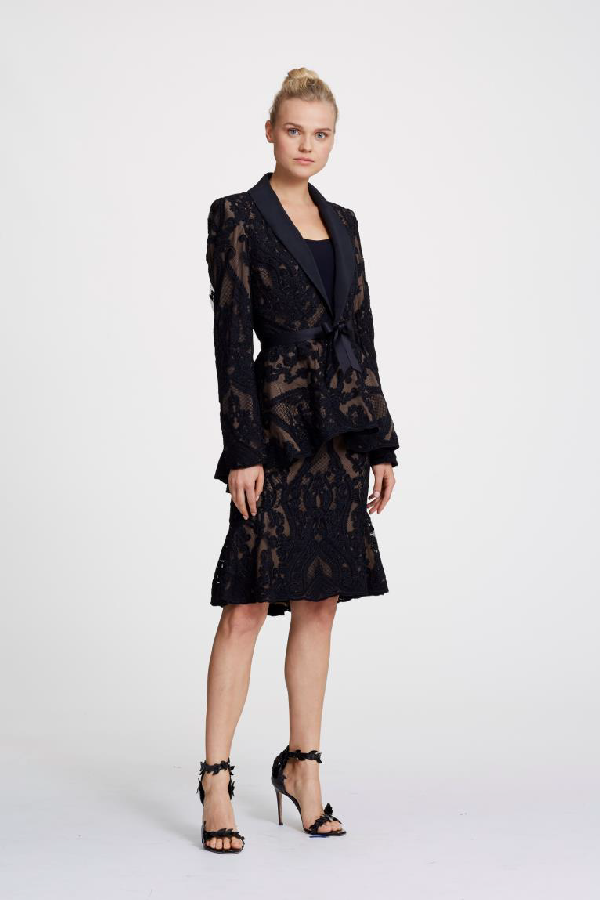 20dba95e3 Marchesa Spring 2019 Couture Lace Suit Jacket & Lace Pencil Skirt In Black