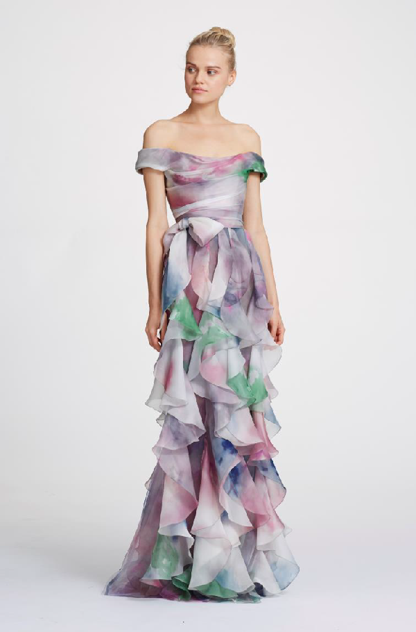 db4fa6136a Marchesa Spring 2019 Couture Abstract Watercolor Off Shoulder Gown In  Violet Print