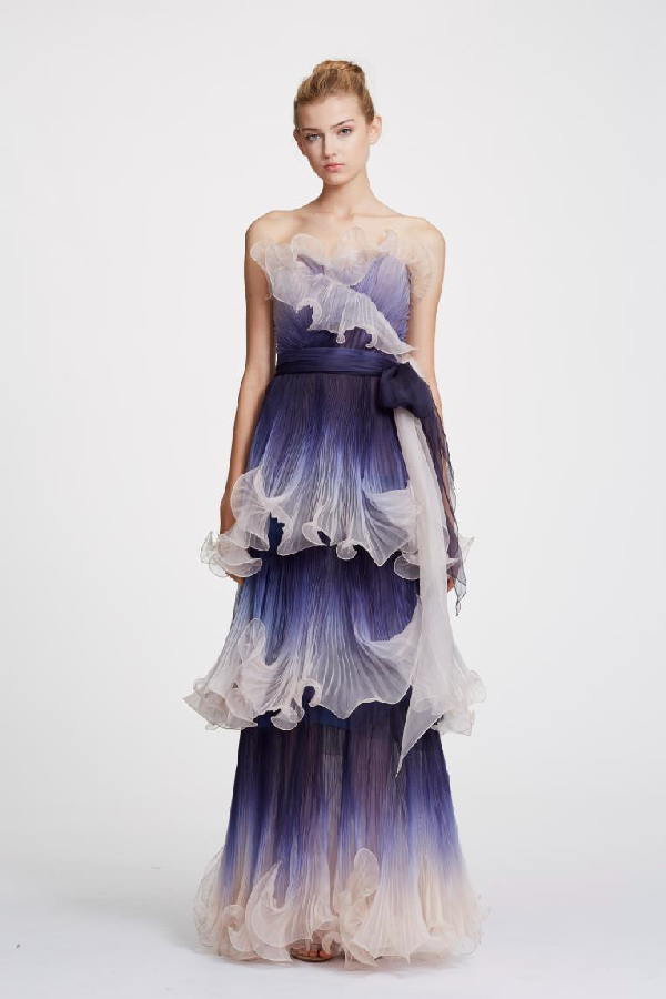 cecae28629 Marchesa Spring 2019 Couture Strapless Pleated Ombre Organza Gown In Indigo
