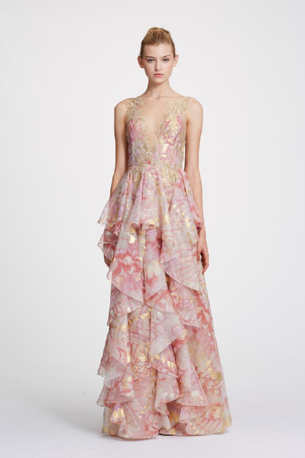 bf2d1b7379 Marchesa Spring 2019 Couture Sleeveless Foil Printed Organza Gown In Gold  Pink