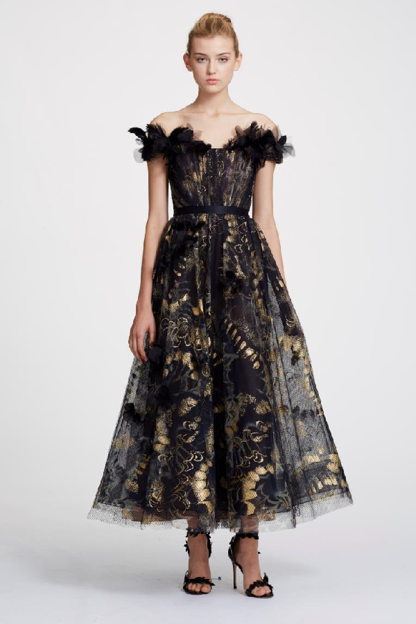 b6b18c93dc Marchesa Spring 2019 Couture Off Shoulder Foil Printed Tulle Midi Tea Dress  In Gold Midnight