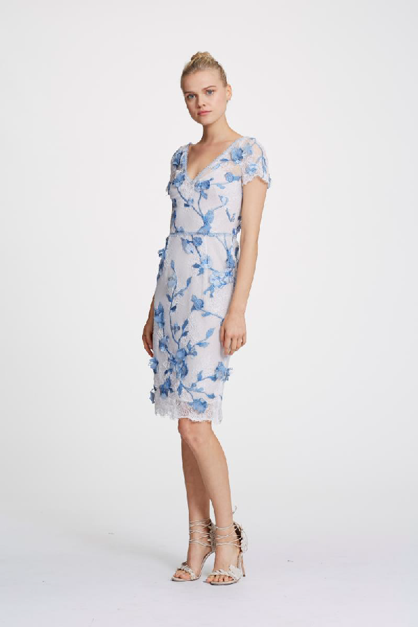 52a670ff21 Marchesa Notte Spring 2019 Short Sleeve 3D Floral Cocktail Dress In Ivory