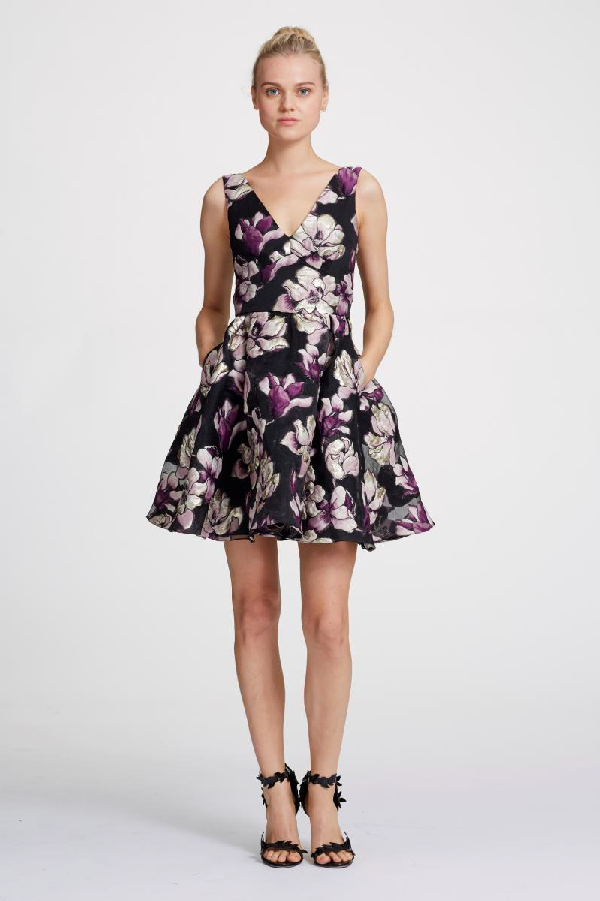 2e87a99dd8 Marchesa Notte Spring 2019 Sleeveless Metallic Floral Cocktail Dress In  Black