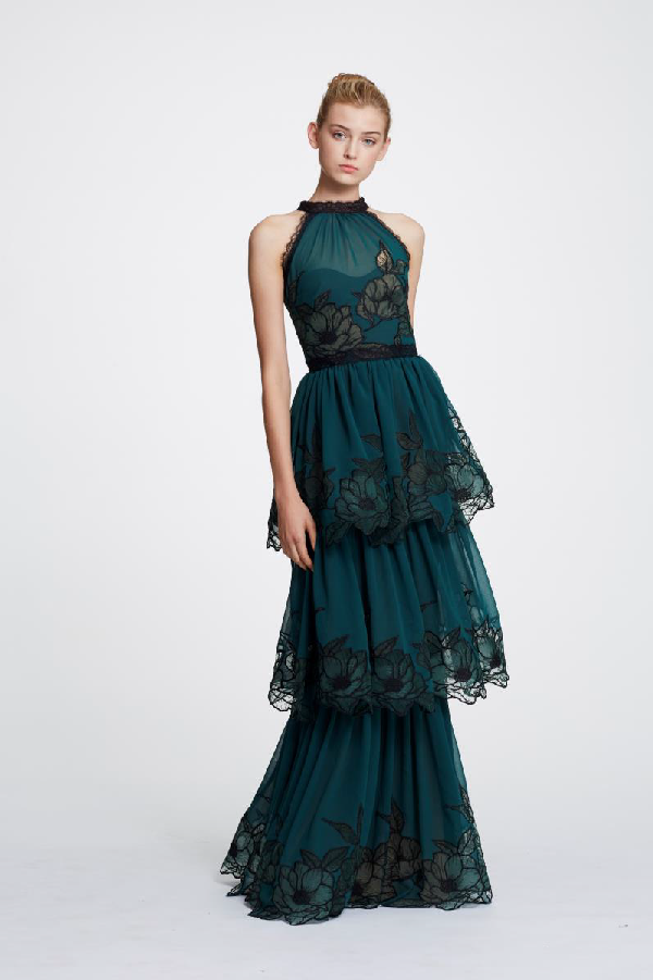 5a9c3a2a18bb Marchesa Notte Sleeveless Tiered Evening Gown N30G0836 In Emerald Green
