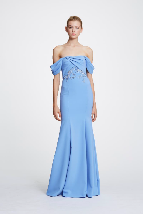 c9e24a9a47 Marchesa Notte Spring 2019 Off The Shoulder Crepe Gown In Light Blue ...