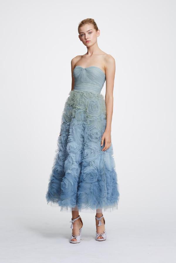 1f96a9d99df6 Marchesa Notte Ombre Strapless Evening Dress In Light Blue | ModeSens