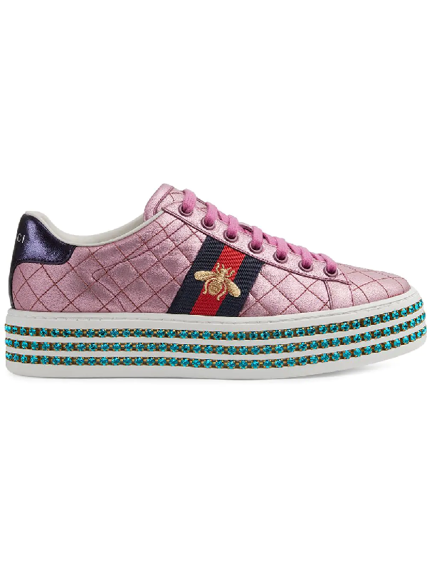 418e25ace97 Gucci Leather Embellished Ace Sneakers In Pink