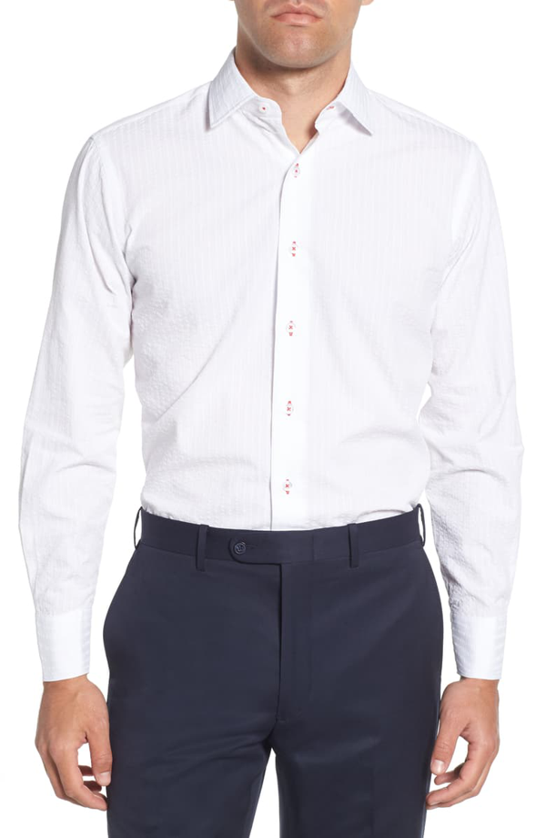 Lorenzo Uomo Trim Fit Seersucker Dress Shirt In White