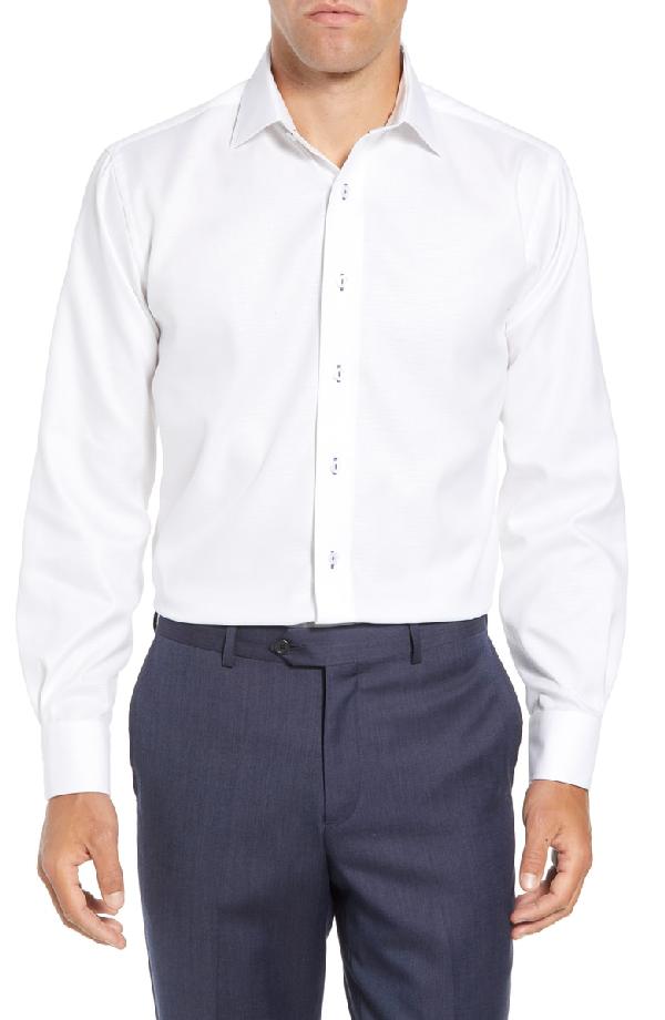 Lorenzo Uomo Trim Fit Solid Dress Shirt In White